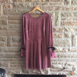 NEW Red Velvet Houndstooth Dress Long Sleeve L